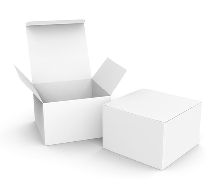 Foto de Blank paper box mockup, white paper boxes one open and the other closed in 3d rendering - Imagen libre de derechos