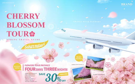 Ilustración de Cherry blossom tour ad, spring travel guide for travel agency or blog with flying flowers and aircraft in 3d illustration - Imagen libre de derechos