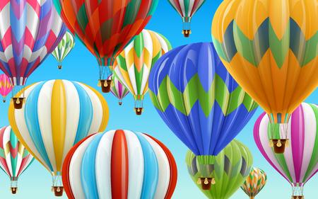 Ilustración de Hot air balloons in the sky, colorful balloons for design uses in 3d illustration with clear blue sky illustration. - Imagen libre de derechos