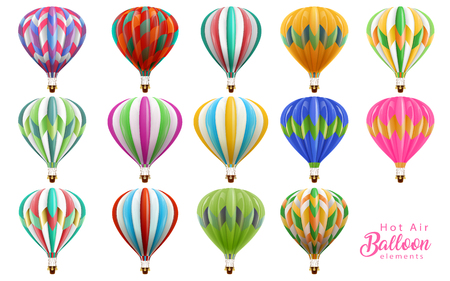 Ilustración de Hot air balloons collection set, colorful balloons in 3d illustration isolated on white background. - Imagen libre de derechos