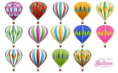 Illustration pour Hot air balloons collection set, colorful balloons in 3d illustration isolated on white background. - image libre de droit