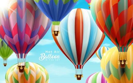 Illustration pour Hot air balloons in the sky, colorful balloons for design uses in 3d illustration with clear blue sky - image libre de droit