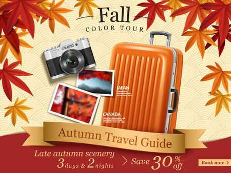 Ilustración de Fall color tour ads, autumn travel guide ads for travel agency or website with elegant maples frame and luggage, camera elements in in 3d illustration. - Imagen libre de derechos