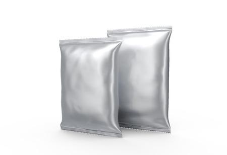 Photo pour Foil food package mockup, 3d rendering silver package template for design use - image libre de droit