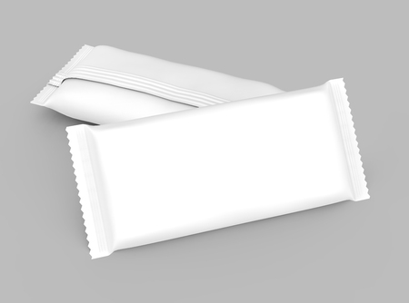 Foto de Blank food package mockup, two white bags template for snacks, sugar or instant coffee in 3d rendering, elevated view - Imagen libre de derechos