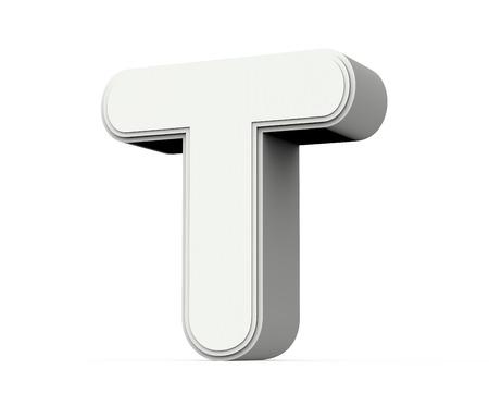 Foto de right tilt white letter T, 3D rendering graphic isolated on white background - Imagen libre de derechos