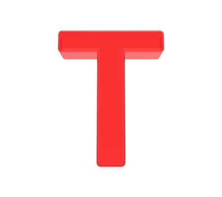 Photo pour red letter T, 3D rendering graphic isolated on white background - image libre de droit