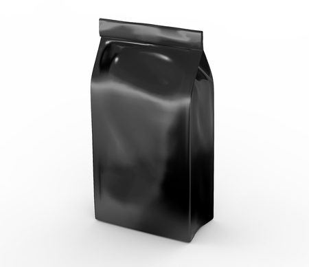 Photo for Black coffee bean bag mockup, blank foil bag template in 3d rendering - Royalty Free Image