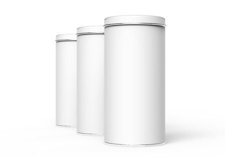 Photo for Tall metal tin mockup, blank round tin cans template with glossy surface in 3d rendering for design uses - Royalty Free Image