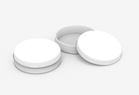 Photo pour Short metal tin mockup, blank round tin cans template with glossy surface in 3d rendering for design uses, one open and one closed - image libre de droit