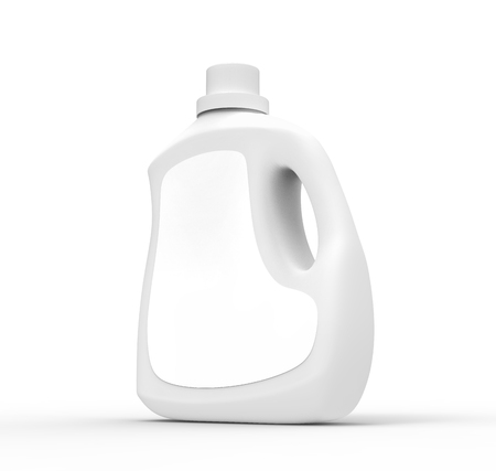 Photo pour Blank laundry detergent bottle, white container mockup with label in 3d rendering isolated on white background - image libre de droit