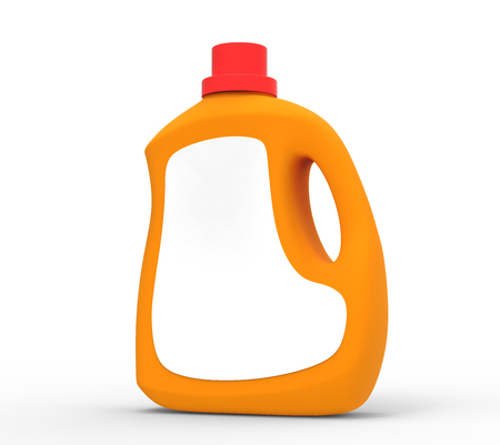 Photo for Blank laundry detergent bottle, orange container mockup with label in 3d rendering isolated on white background - Royalty Free Image