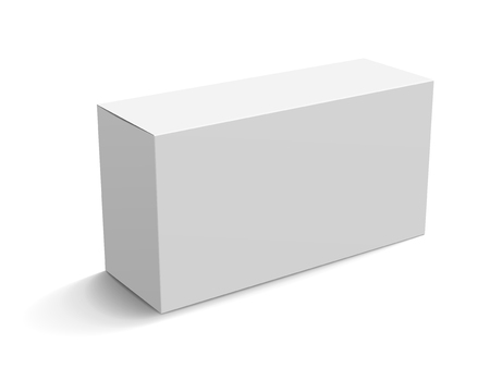 Ilustración de Blank paper box mockup, white box template for design uses in 3d illustration, elevated view - Imagen libre de derechos