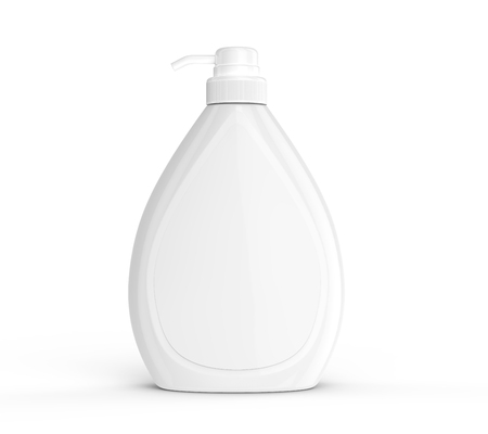 Photo pour Body wash or liquid soap bottle, blank dispenser mockup with white label isolated on white background - image libre de droit