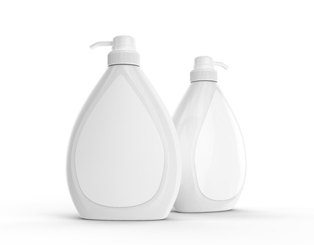 Photo pour Body wash or liquid soap bottle, blank dispenser mockup set with white label isolated on white background - image libre de droit