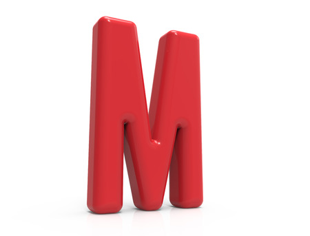 Photo pour red letter M, 3D rendering red plastic texture alphabet isolated on white background - image libre de droit