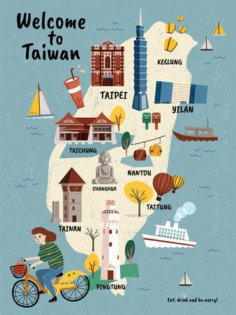 Ilustración de Taiwan Travel map, hand drawn style attractions and specialties with girl riding a bike - Imagen libre de derechos