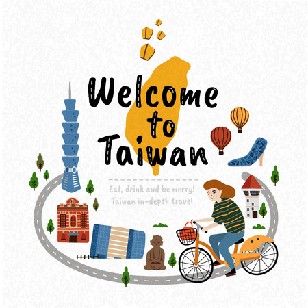 Ilustración de Welcome to Taiwan, travel concept illustration with famous landmarks and a girl riding a bike traveling through Taiwan - Imagen libre de derechos