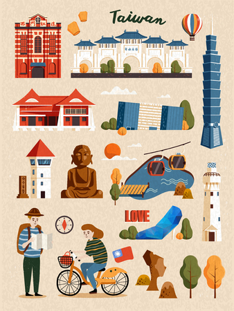 Illustration pour Taiwan Attraction Set, famous architecture and landmark isolated on beige background - image libre de droit