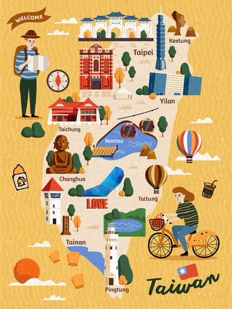 Ilustración de Taiwan Travel map, hand drawn style attractions and specialties with two travelers - Imagen libre de derechos
