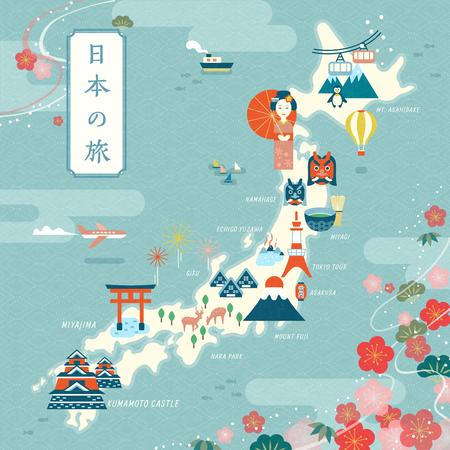 Ilustración de Elegant japan travel map, flat design landmark and traditional symbol with cherry blossom frame, Japan travel in Japanese on the top left - Imagen libre de derechos