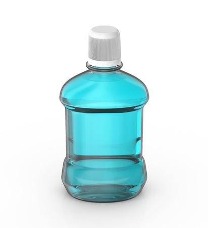 Photo pour Blue mouth rinse, blank hygiene product mockup in 3d rendering - image libre de droit