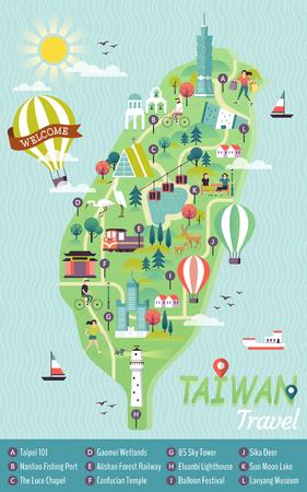 Ilustración de Taiwan travel concept map. - Imagen libre de derechos