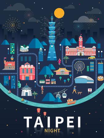 Illustration pour Taipei night flat design. - image libre de droit
