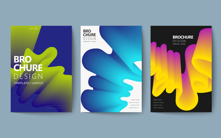 Illustration for Abstract brochure design set, colorful flowing fluid in holographic style, poster design - Royalty Free Image