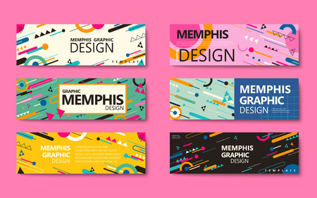 Illustration pour Memphis style banner collection, colorful geometric elements isolated on pink background - image libre de droit
