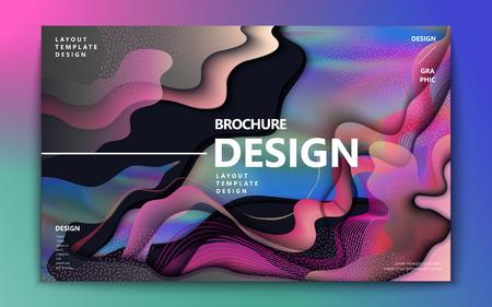 Ilustración de Abstract brochure design, colorful flowing wavy liquid decoration in holographic style - Imagen libre de derechos