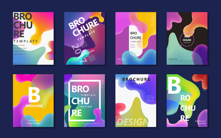 Illustration for Abstract brochure design, colorful flowing liquid decoration in holographic style - Royalty Free Image