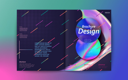 Ilustración de Abstract brochure design, flowing liquid bubble and colorful geometric elements on purple background, holographic style - Imagen libre de derechos