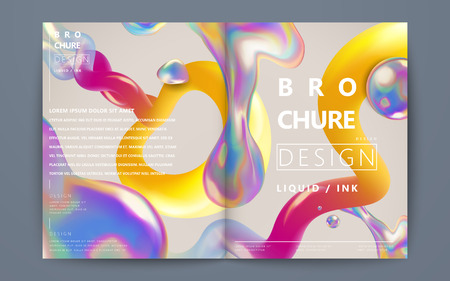 Illustration for Abstract brochure design, flowing liquid bubble and colorful elements on beige background, holographic style - Royalty Free Image