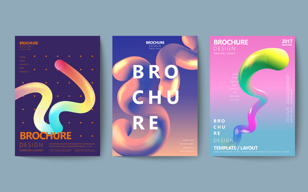 Ilustración de Abstract brochure design set, colorful flowing fluid in holographic style, poster design - Imagen libre de derechos