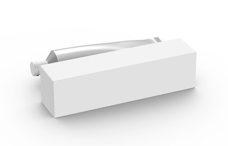 Photo pour Blank toothpaste mockup, paste tube with paper box in 3d render in silver - image libre de droit