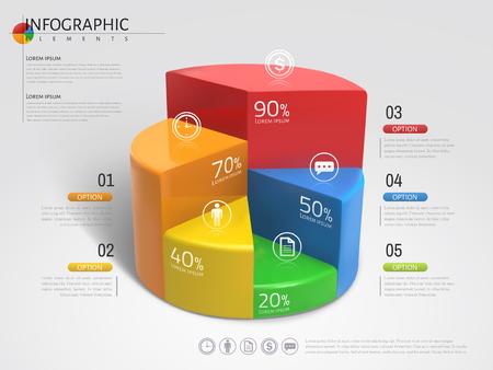 Illustration pour 3D Pie chart infographic, plastic texture pie chart with different colors in 3d illustration - image libre de droit