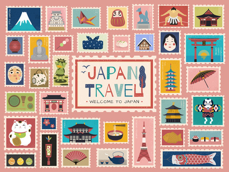 Photo pour Japan Travel concept stamp, lovely japanese traditional symbols in stamp form, colorful flat design - image libre de droit
