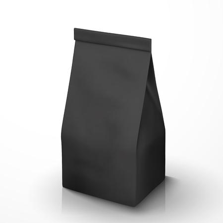 Ilustración de Coffee Bean package mockup, black foil packet in 3d illustration for design uses - Imagen libre de derechos