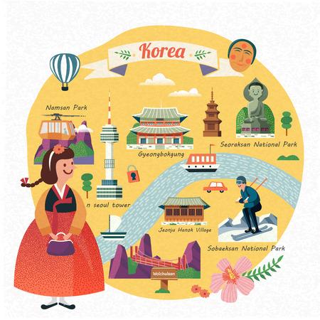 Illustration for Korea travel illustration, lovely girl wearing hanbok and seeing famous landmarks in Korea, flat design - Royalty Free Image