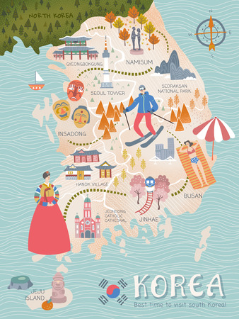 Illustration pour Korea travel map, lovely flat style korea attractions and specialties for traveler - image libre de droit