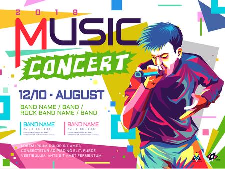 Ilustración de Music concert poster pop art concept illustration. - Imagen libre de derechos
