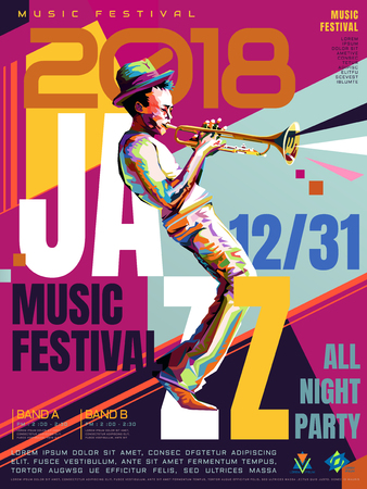 Illustration for Jazz all night poster, music festival design in WPAP style, pop art portrait for trumpet performance - Royalty Free Image