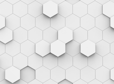 Photo pour white hexagon background, 3d rendering polygonal backdrop with glossy surface - image libre de droit