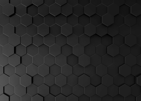 Foto de Black hexagon background, 3d render geometric pattern wallpaper - Imagen libre de derechos