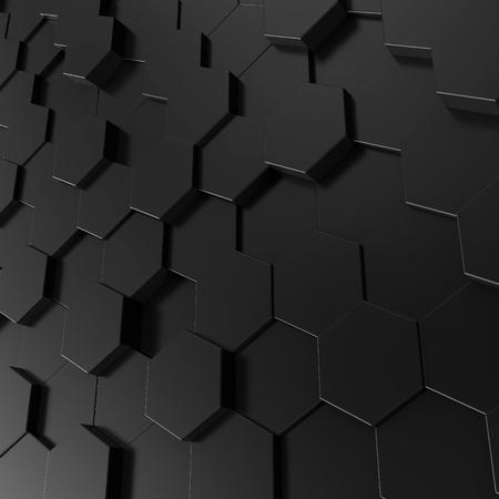 Foto de Black hexagon background, 3d render geometric pattern wallpaper - Imagen libre de derechos