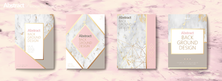 Illustrazione per Graceful brochure set, geometric shape with golden line and marble stone texture, pink tone - Immagini Royalty Free