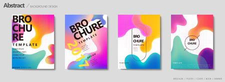 Illustration pour Fluid liquid shape brochure, pastel color in gradient design - image libre de droit