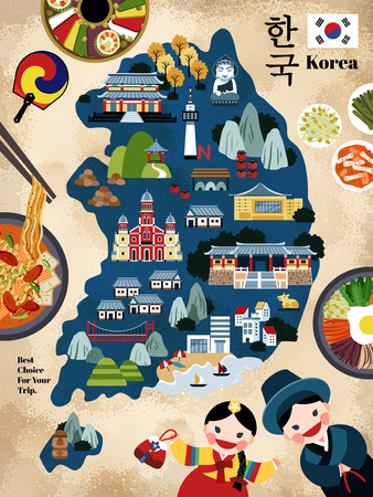 Photo pour Lovely Korea travel map, Korean famous landmark and delicious dishes recommended for tourists, korea country name in Korean words - image libre de droit