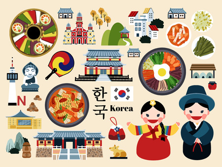 Illustration pour Lovely Korea travel concept set, Korean traditional culture symbol collection, korea country name in Korean words - image libre de droit